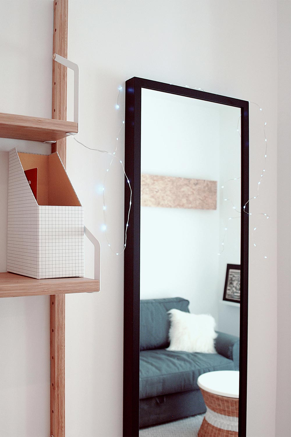 Interior detail of an IKEA mirror and shelves