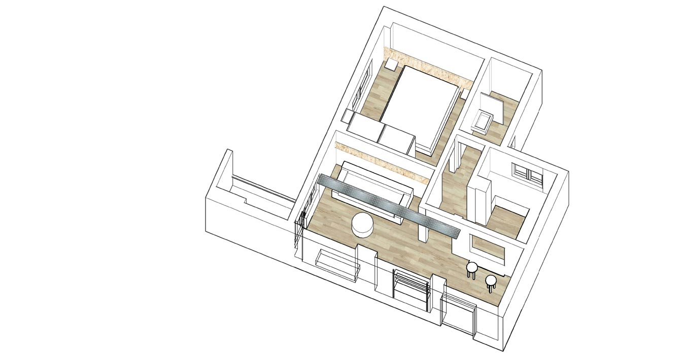 Architectural axonometric drawing of an apartment
