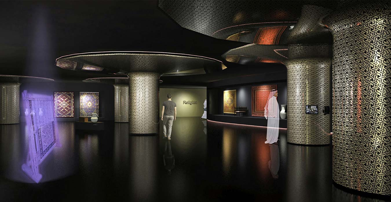 The museum' s foyer with the audiovisual installations.