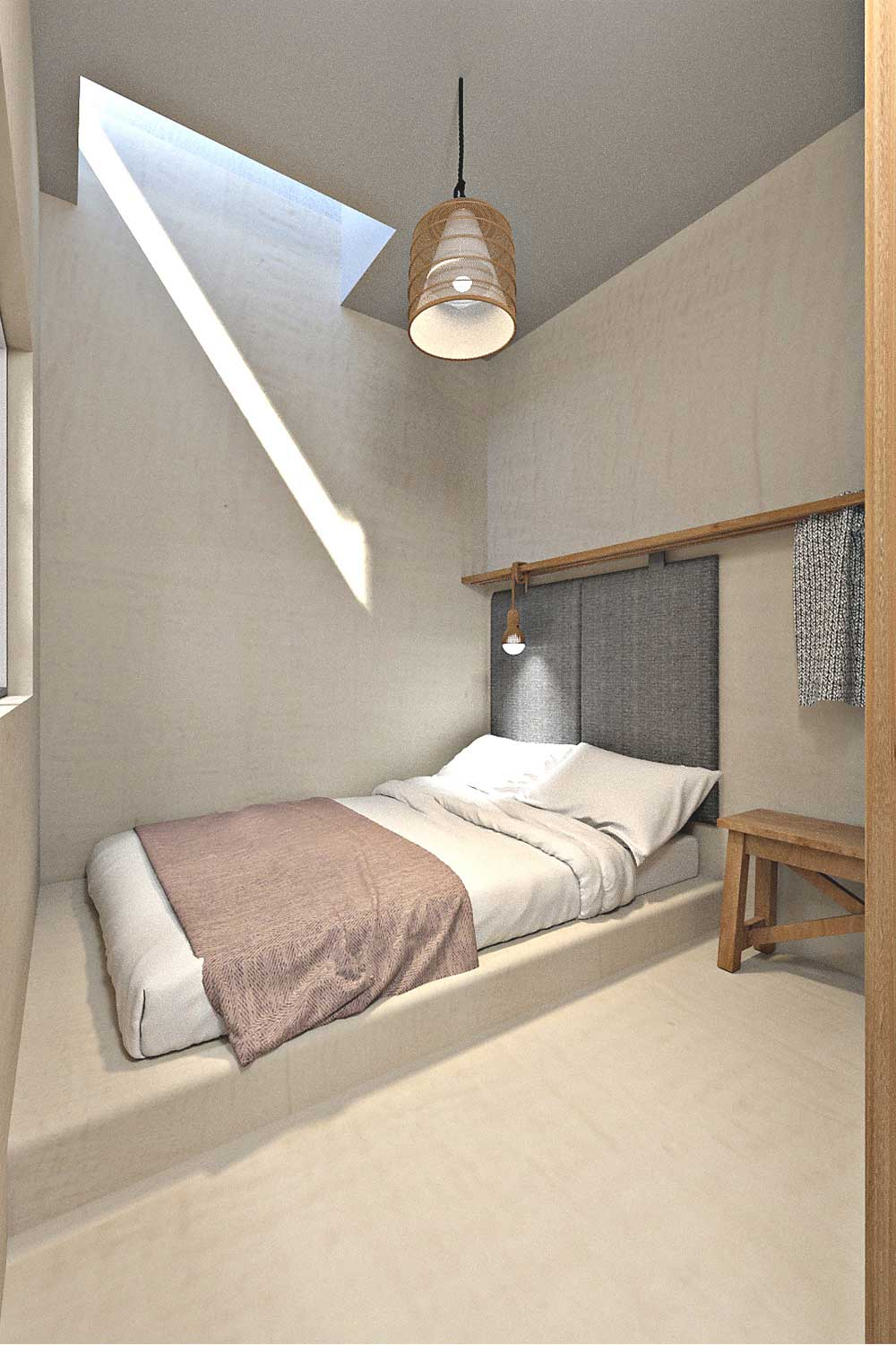 In this cute bedroom the light comes from an internal window and a dormer one.