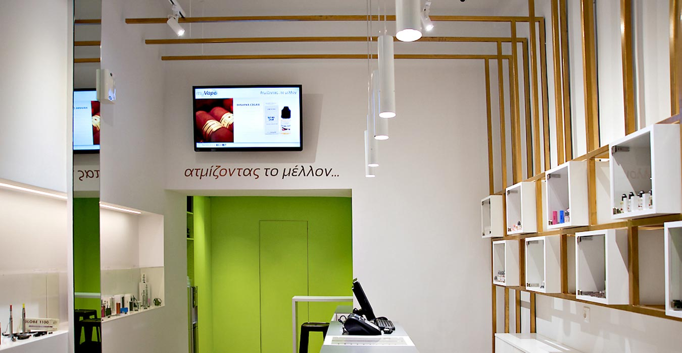 Interior design of electronic cigarette store.