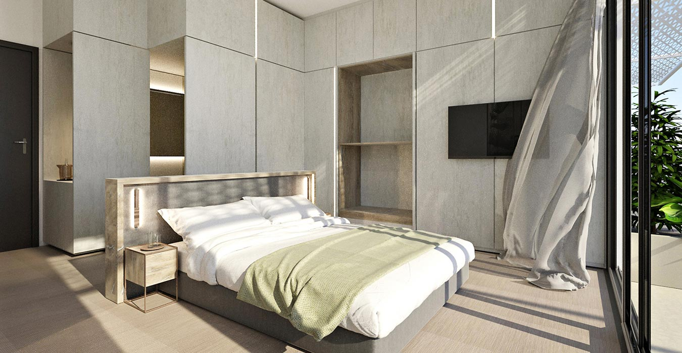 3d visualization of a hotels' room interior.